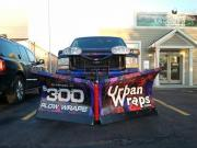 Snow plow wrapped with General Formulations MotoMark advertising Plow Wraps for 300 dollars by Urban Wraps