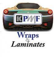 Ferrari wrapped in Iridescent Wrap Vinyl with KPMF Logo over top